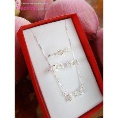 Bộ dây chuyền liền mặt, bông tai và nhẫn trang sức bạc Ý S925 Bạc Xinh – Nơ đẹp PP1429-RYE140827-RR1394