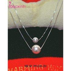 Bộ dây chuyền liền mặt trang sức bạc S925 Italia Bạc Xinh – Ngọc trai hai tầng PP1205 ZH