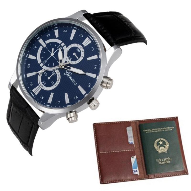 Nơi bán Bộ đôi Đồng hồ dây da nam thời trang và ví da WLQC02