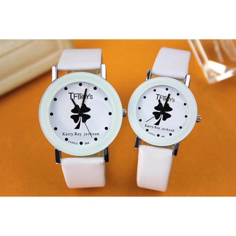 Nơi bán Bộ đôi Đồng hồ dây da nữ Yazole 304 trắng