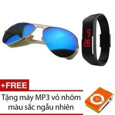 Bộ kính mát Unisex tráng gương LAZAPAY.VN+ Đồng hồ led kiểu dáng thể thao + Tặng máy nghe nhạc MP3 vỏ nhôm màu sắc ngẫu nhiên