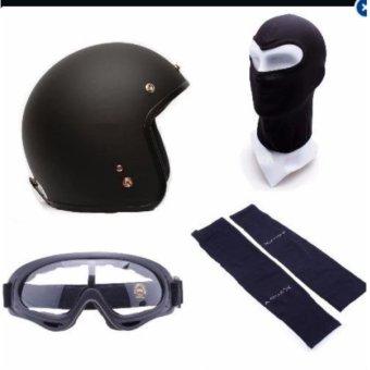 Bộ mũ bảo hiểm + khăn trùm + kính + găng tay đi phượt(Đen)