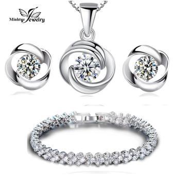 Địa Chỉ Bán Bộ trang sức bạc 3 món đính đá MTJ110B