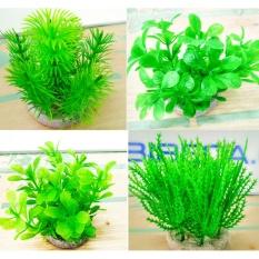 Giá Niêm Yết Bộ trang trí 3 cây nhựa thấp màu xanh lá (mẫu ngẫu nhiên), trang trí bể cá, bể cá