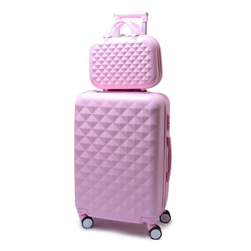 Bộ vali 20 inch và cốp vali 14inch Họa tiết kim cương (Hồng)