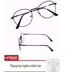 bộ2Mắt kính ngố giả cận Nobita cao cấp (đen) + Tặng kèm Tai nghe nhét tai