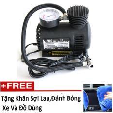 Bơm lốp xe hơi ô tô chuyên dụng HQ 0TI85 (Đen)   + Tặng 1 khăn lau xe K275.