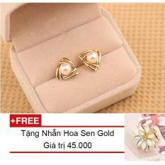 Bông Tai Mạ Vàng Hạt Châu + Tặng Kèm Nhẫn Hoa Sen Gold