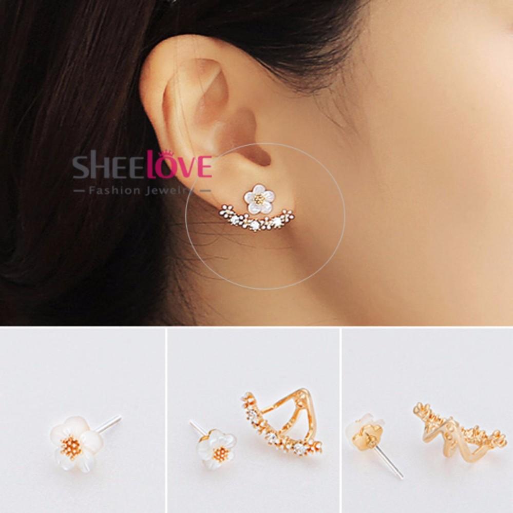 SHEELOVESHOP-Bông tai hoa mai viền đính đá zircon lấp lánh thời trang Hàn Quốc HKE-JY5381