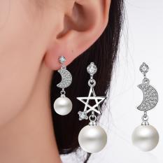 Bông tai nữ thời trang ngọc trai ngôi sao mặt trăng tòn ten lấp lánh HHN-KB4568(Bạc)