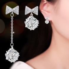 Bông tai nữ thời trang nơ tòn ten đính đá lấp lánh HHN-KB4569(Bạc)