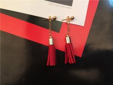 Bông tai sợi tua rua to đỏ vang phong cách Hàn