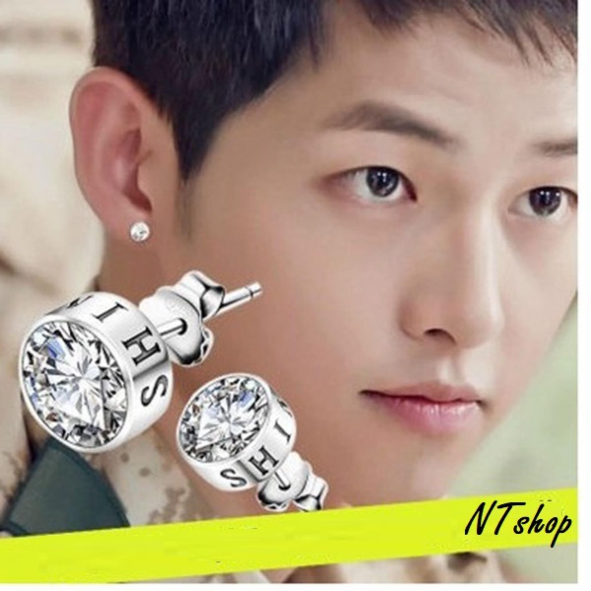 Bông Tai Titan đá Rubby sáng chói lóa cá tính phong cách Hán BTNRUBBY01