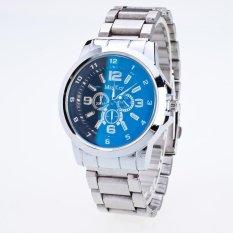 Bounabay Brand Men's Bright Blue False 3 Eyes Dial Alloy White Strap Quartz Wrist Watch – intl