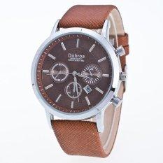 Bounabay Brand Men's Casual False 3 Eyes Decorative Dial Calendar Display PU Leather Strap Quartz Wrist Watch – intl