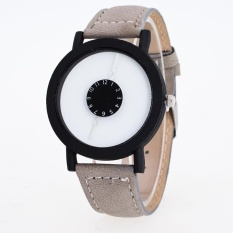 Bounabay Brand Men's Classic Black Bezel Simple Dial Imitation Leather Strap Quartz Wrist Watch – intl