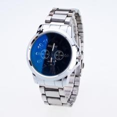 Bounabay Brand Men's Fashion Bright Blue 3D Digit Dial Alloy White Strap Quartz Wrist Watch – intl