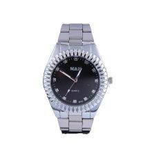 Bounabay Brand Men's Fashion Gear Shape Bezel White Alloy Strap Diamond Dial Quartz Wrist Watch – intl