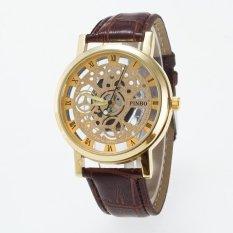 Bounabay Brand Men's Roman Numbers Scale Originality Hollow Dial Leather Strap Quartz Wrist Watch – intl