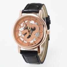 Bounabay Brand Men's Round Bezel Dragon Hollow Dial Soft Leather Strap Quartz Wrist Watch – intl
