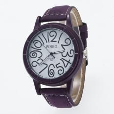 Bounabay Brand Men's Round Case 12 Digit Dial Leather Strap Quartz Wrist Watch – intl