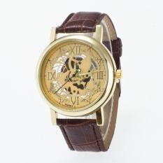 Bounabay Brand Men's Round Case Four Roman Number Hollow Dial Leather Strap Quartz Wrist Watch – intl