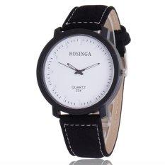 Bounabay Brand Men's Simple Atmosphere PU Leather Strap Quartz Wrist Watch – intl