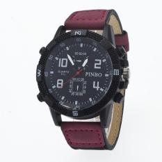 Bounabay Brand Men's Simple Fashion Round Case False 2 Eyes 4 Digital Dial Leather Strap Quartz Wrist Watch – intl
