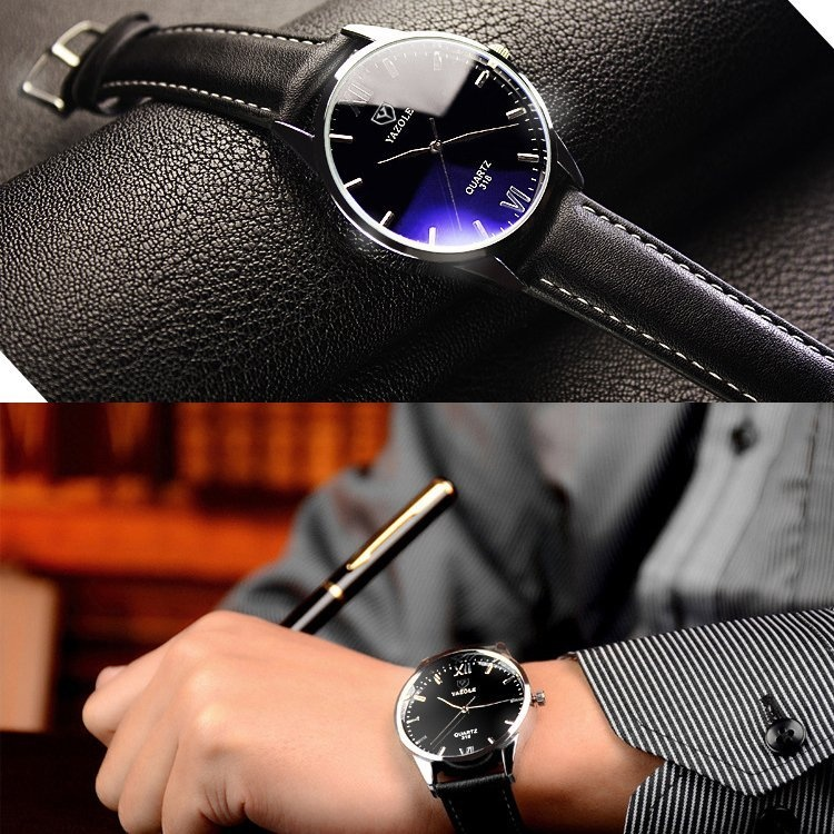 Bounabay Brand Watch 318 Simple Fashion Roman striped quartz watch Blue Glass male Wristwatches - intl