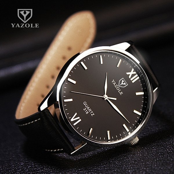 Bounabay Brand Watch 318 Simple Fashion Roman striped quartz watch Blue Glass male Wristwatches – intl
