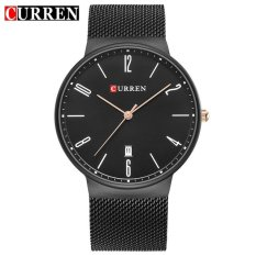 Bounabay Brand Watch Curren Mens Watches Luxury Mesh Strap Fashion Casual Quartz Ultra Thin Gold Watches Male Sports Wristwatch 8257 – intl