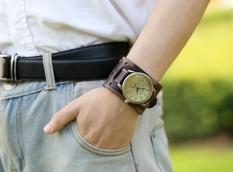 Bounabay Classic Vintage Retro Men Simple Shape Handmade Leather Bracelet Watch Hot Sale Gift – intl