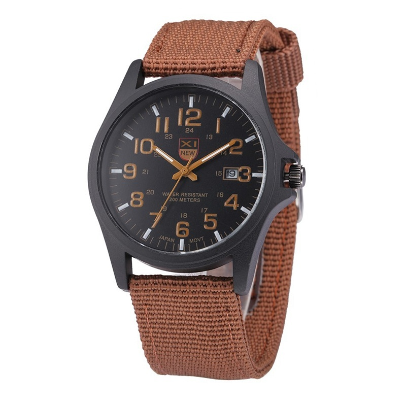 Bounabay Luxury men quartz calendar casual simulation canvas stainless steel watch – intl