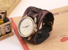 Bounabay Men Punk Style Retro Classical Shape Alloy Case Handmade Leather Bracelet Watch – intl