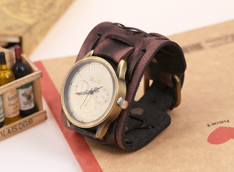 Bounabay Men Punk Style Retro Classical Shape Alloy Case Handmade Leather Bracelet Watch – intl