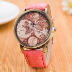 Bounabay Vintage Bronze Men's Wrist Watch Canvas World Map Quartz Analog Fashion Watch – intl