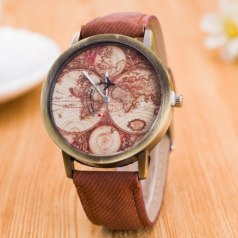 Bounabay Vintage Bronze Men's Wrist Watch Canvas World Map Quartz Analog Fashion Watch - intl