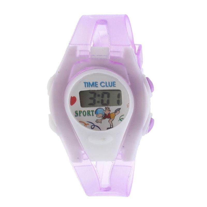 Boy Girl Student Sport Time Electronic Digital LCD Wrist Watch Purple - intl bán chạy