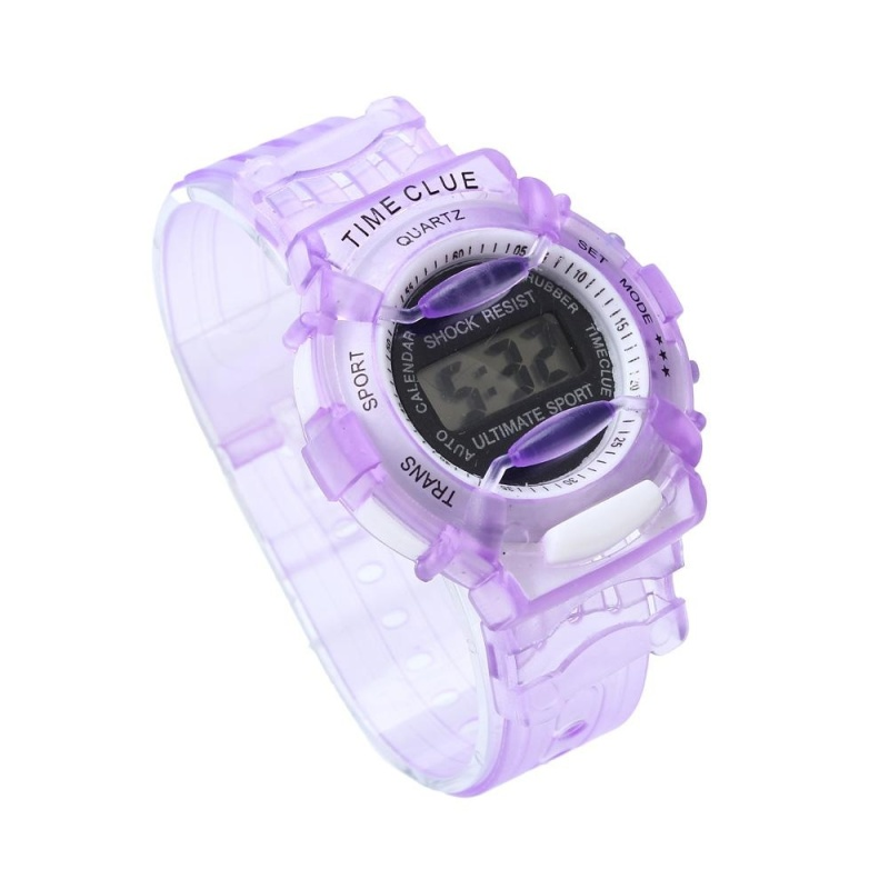 Boys Girls Children Students Waterproof Digital Wrist Sport Watch Purple - intl bán chạy