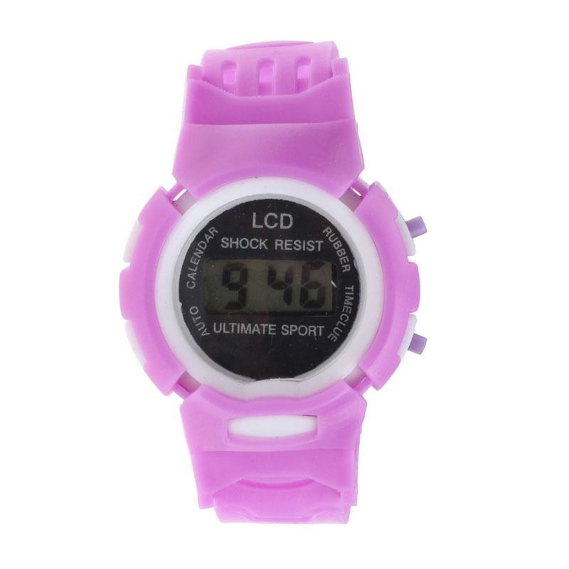 Boys Girls Student Time Sport Electronic Digital LCD Wrist Watch Purple - intl bán chạy