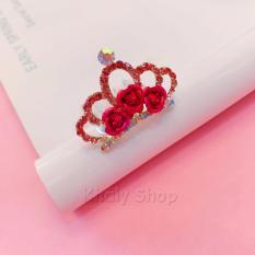 Mẫu sản phẩm Cài tóc kiểu vương miện 3 hoa hồng đính hạt dành cho bé yêu màu hồng ( 4x3x4.5 ) – VN11BH-1