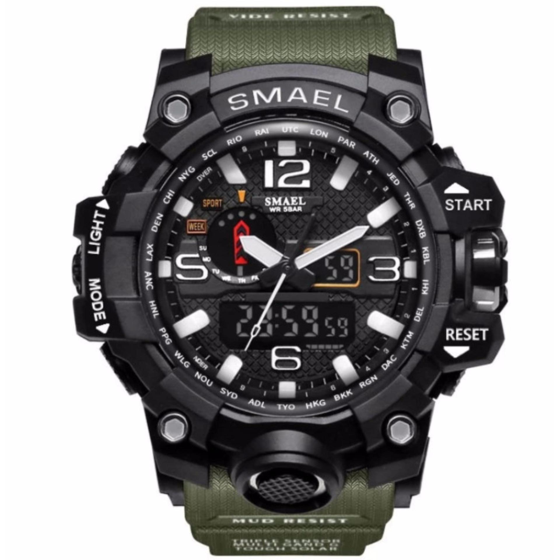 CANADO ⌚️ ĐỒNG HỒ LÍNH THỦY ĐÁNH BỘ CỦA MỸ – SMAEL Watch 1545 S-SHOCK Series of Gold Jungle Luxury Style Outdoor Sports Mens Dual Display Electronics Watch