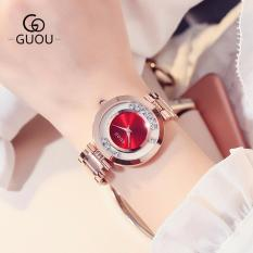 CANADO Đồng Hồ Nữ GUOU New Famous Brand Fashion Rose Quartz Gold Watches Women Waterproof SB106 (Vàng Hồng)