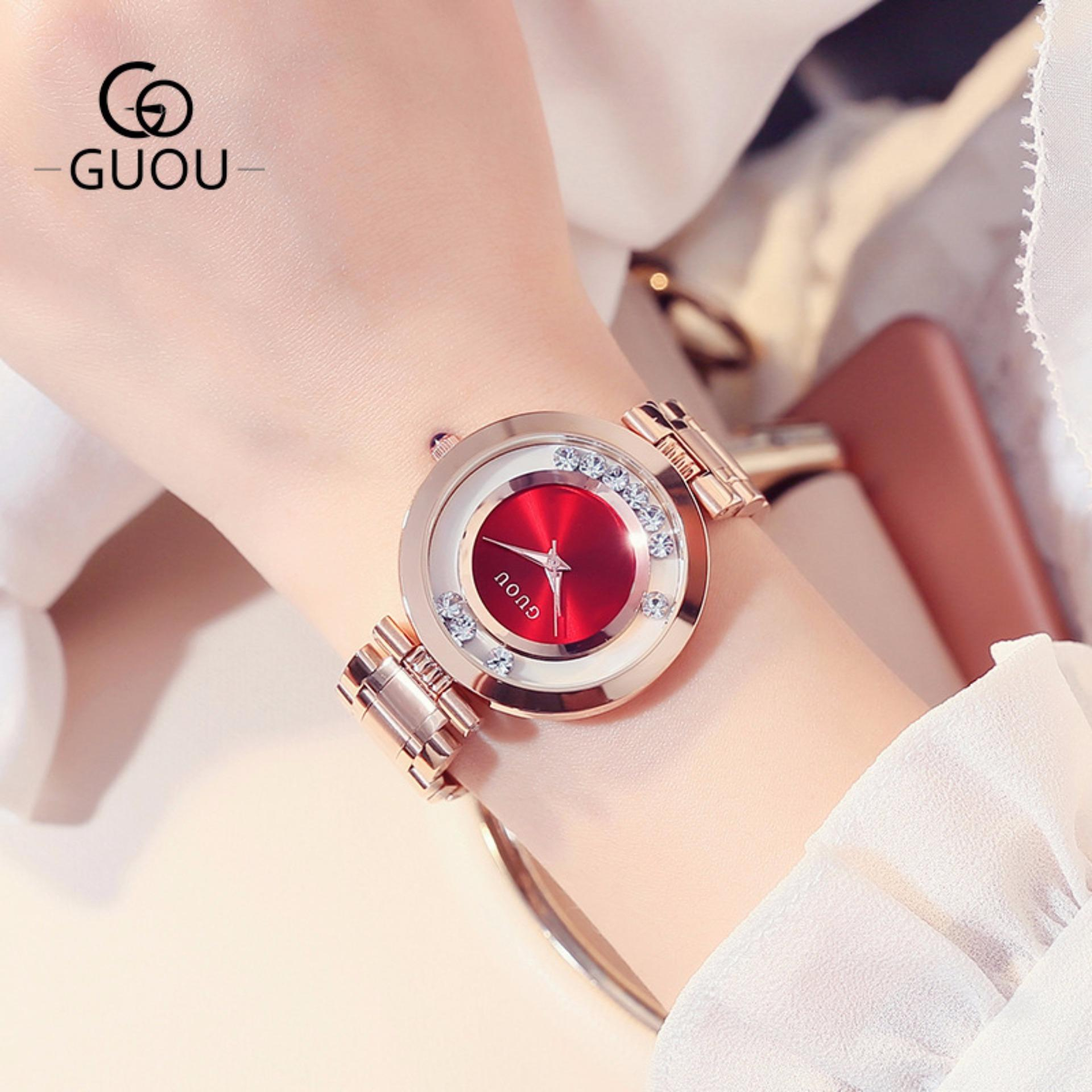 CANADO Đồng Hồ Nữ GUOU New Famous Brand Fashion Rose Quartz Gold Watches Women Waterproof SB106 (Vàng Hồng)