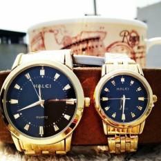 Cặp đồng hồ đôi HALEI dây kim HL03 (dây vàng mặt đen)