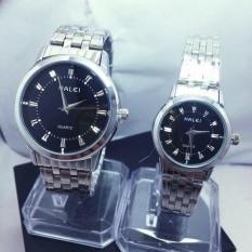 Cặp Đồng hồ Halei nam nữ cao cấp chống xước, chống nước tuyệt đối (Giá 1 đôi)-dây trắng mặt đen