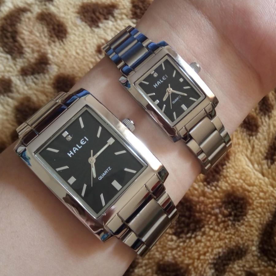 Cặp Đồng hồ Halei nam nữ cao cấp chống xước chống nước tuyệt đối (Giá 1 đôi)-dây trắng mặt đen