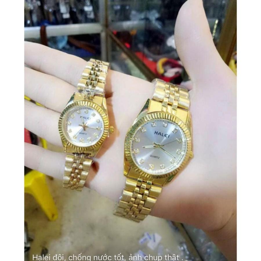 Cặp Đồng hồ Halei nam nữ cao cấp chống xước chống nước tuyệt đối (Giá 1 đôi) dây vàng mặt trắng