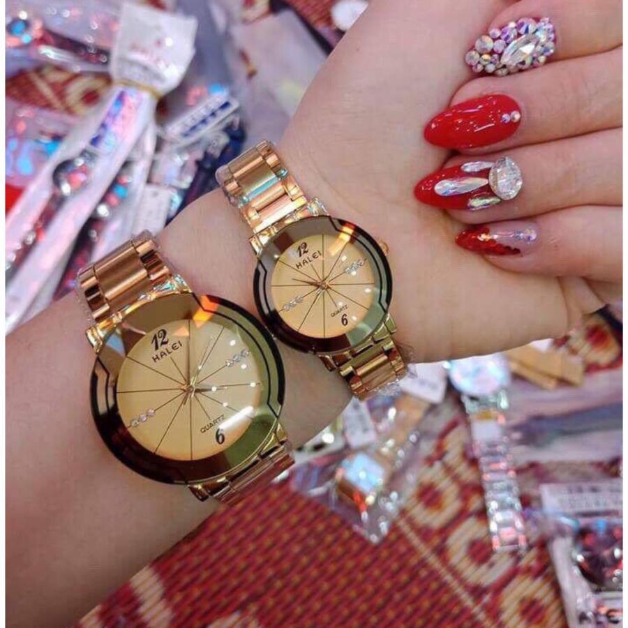 Cặp Đồng hồ Halei nam nữ cao cấp chống xước, chống nước tuyệt đối (Giá 1 đôi) dây vàng mặt vàng
