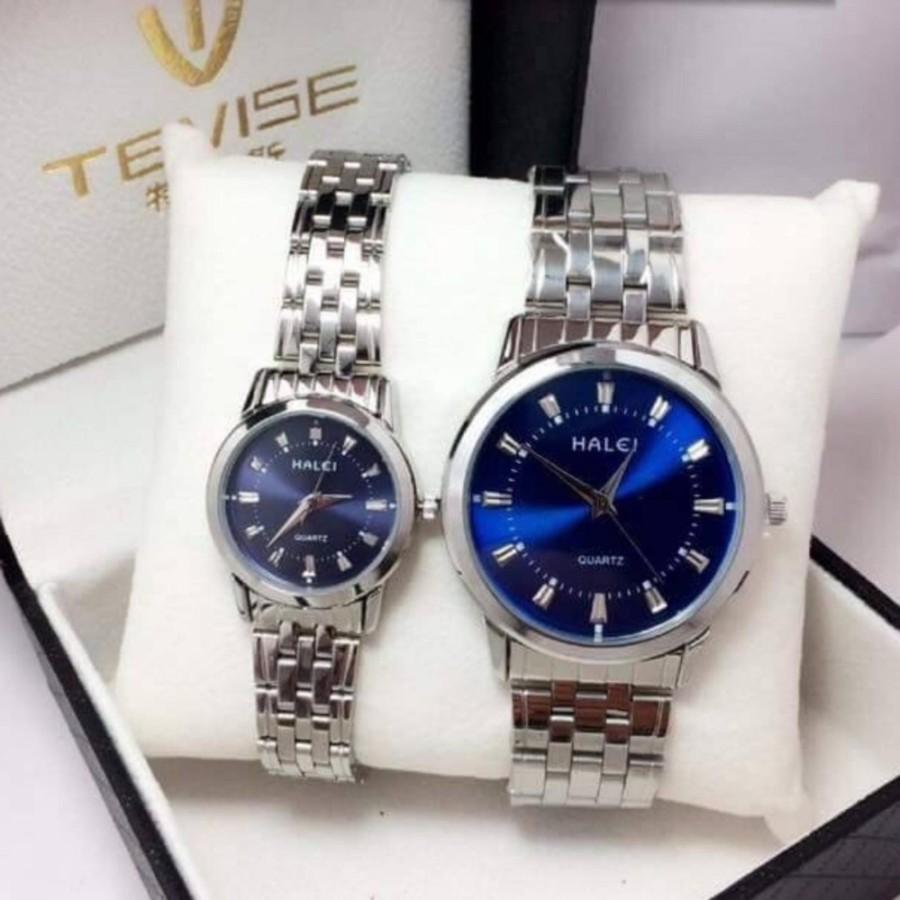 Cặp Đồng hồ Halei nam nữ cao cấp chống xước chống nước tuyệt đối (Giá 1 đôi) dây trắng mặt xanh